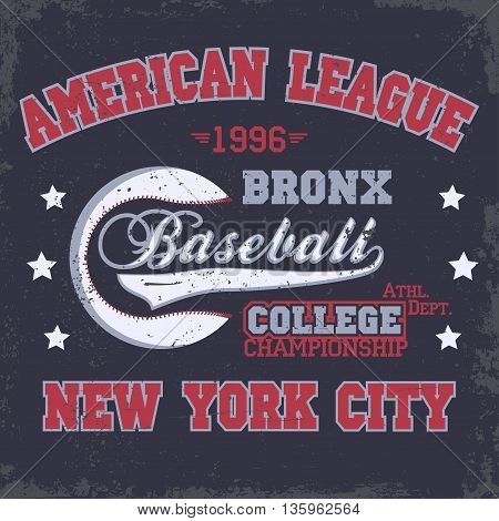 Baseball Fashion Typography stamp Graphics. New York Sport T-shirt print Design. Athletic apparel tee. USA original wear. Vector
