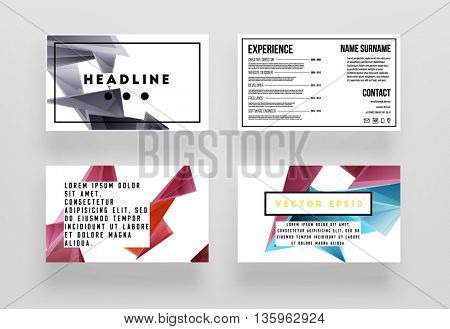 Geometric Business Cards Backgrounds Set. Triangles Pattern. Flat Style Design. Vector Illustration