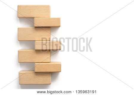 Wood Block On White Background.
