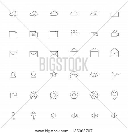 Simple thin outline Icon set .Trendy simple thin Icons for Web design or Mobile application.Vector illustration thin icon set.