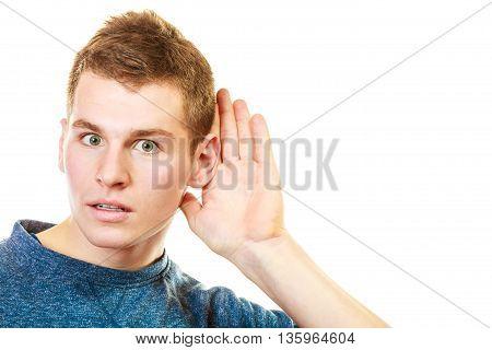 Gossip Boy With Hand Behind Ear Spying
