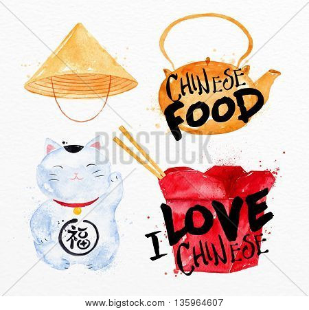 Chinese symbols Chinese hat Chinese teapot ping pong box lucky cat drawing with drops and splash on watercolor paper background