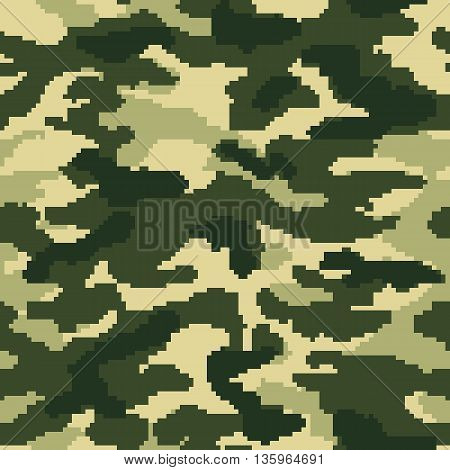 Military digital camouflage seamless pattern, green colors, vector illustration