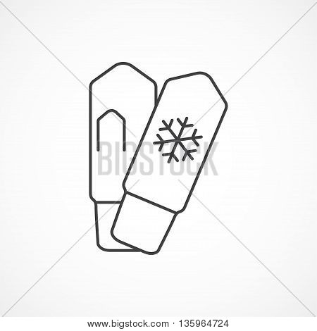 Mittens with snowflake minimal vector line icon