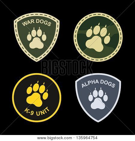 Set of military, police patches dog paw