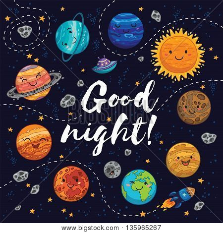 Good night. Awesome card with lovely planets, moon, spaceship, starts and comets. Fantastic childish background in bright colors
