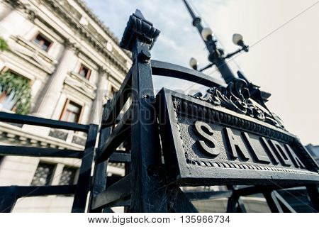 Exit sign on the National Congress of Argentina