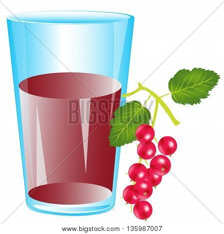 Glass with drink from berry wood sorrel on white background