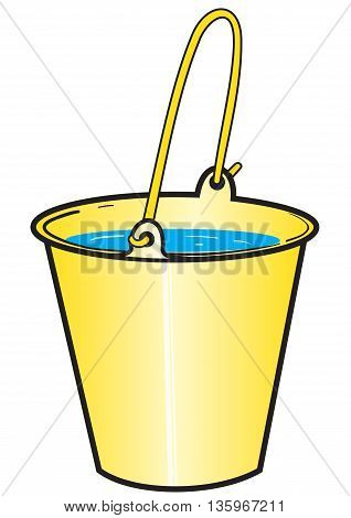 Illustration of a bright yellow bucket with water on the white background