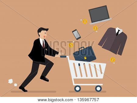 Businessman add a clothing and accessories into cart. Shopping concept
