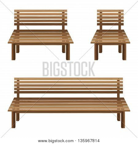 Wooden chairs on a white background. Wooden Bench and wooden chairs.