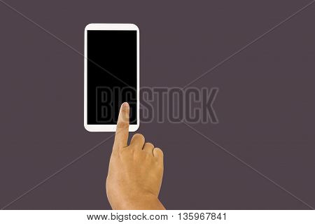 Solated Hand With Finger Press On Big Blank Screen Smartphone