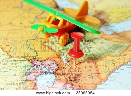 Kenia Africa Map Airplane