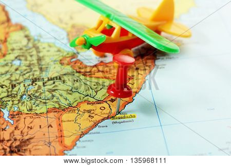 Africa Map Somalia Mogadishu Airplane
