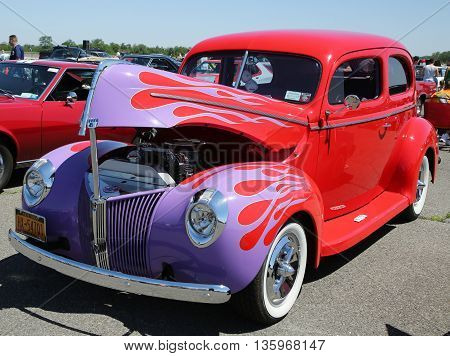 BROOKLYN, NEW YORK - JUNE 12, 2016: Historical 1940 Ford during Antique Automobile Association of Brooklyn annual Spring Car Show in Brooklyn, New York