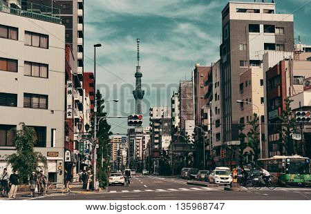 TOKYO, JAPAN - MAY 15: Street view with Skytree on May 15, 2013 in Tokyo. Tokyo is the capital of Japan and the most populous metropolitan area in the world