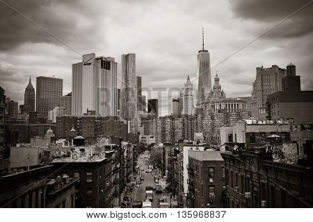 NEW YORK CITY - AUG 15: Chinatown street view August 15, 2014 in Manhattan, New York City. It is one of the largest and oldest ethnic Chinese communities outside of Asia with population of 100k