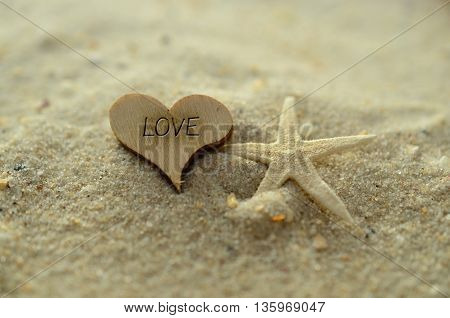 Depth of field love text carved/engraved in heart shape piece of wood on sand beach with starfish