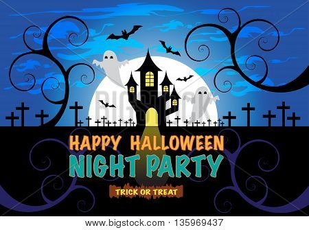 Happy Halloween night party holiday festival background vector illustration.