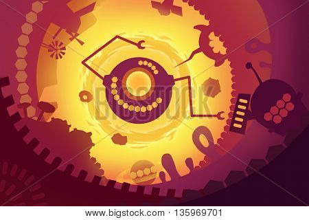 Set 7: The Future's Fantasy. Creative Innovation Digital Concept CG Abstract Artwork Mobile Video Game Wallpaper Background. Realistic Fantastic Cartoon Style Scene, Story, Card Design.