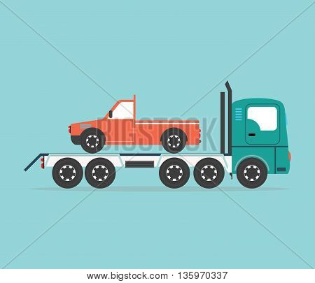 Tow truck driven cars isolated on blue background conceptual transportation Flat design vector illustration.