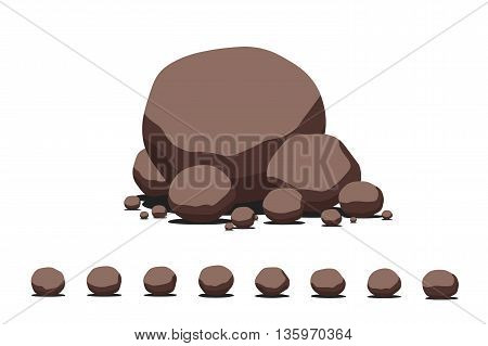 Brown cartoon flat vector stone set. Decoration template.