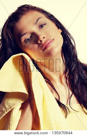 Alternative Medicine And Body Treatment Concept. Atractive  Young Woman After Shower With Towel