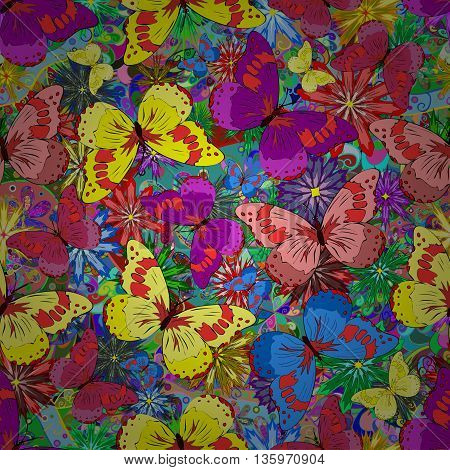 seamless pattern with colorful butterflies. Vector illustration.