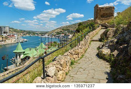 Sevastopol, Russia - June 09, 2016: Genoese fortress Cembalo built beginning in 1357. Balaklava in Crimea.