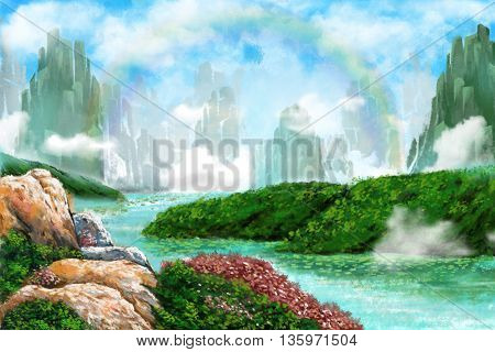 Watercolor Style Digital Artwork: The Entrance of Mystery Rock Mountains Holy Place, Rainbow Clouds, River Bend. Realistic Fantastic Cartoon Style Character, Background, Wallpaper, Story, Card Design