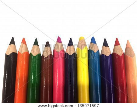 Colour of pencils isolated on white background