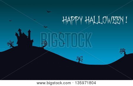 Happy Halloween backgrounds castle illustration and bat