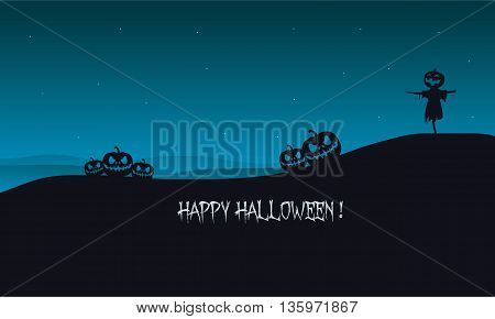 Halloween pumpkins and scarecrow silhouette with blue backgrounds