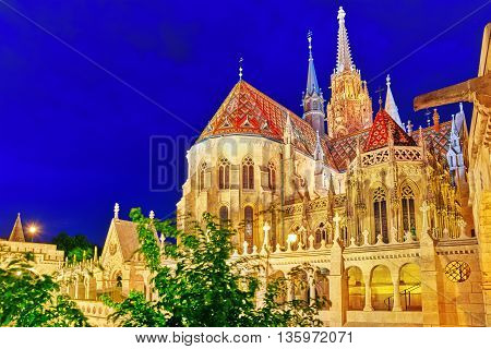 St. Matthias Church In Budapest. Night Time.