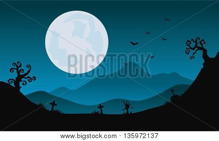 Halloween scenery at night with moon backgrounds illustration
