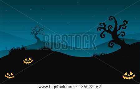 Silhouette of Halloween scary in hills with dry tree vector