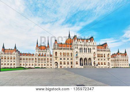Hungarian Parliament Main Entrance. Panoramic View. Hungary.