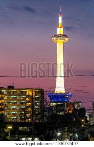 Kyoto, Japan Kyoto Tower with cityscape sunset