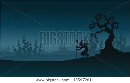 Silhouette of spruce forest and witch Halloween illustration