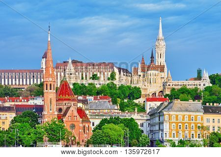 Church Of St. Matthias, Fisherman's Bastion,calvinist Church Shore View's Of The Danube. Budapest. H