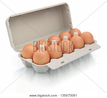 3D illustration of ten eggs in a carton package