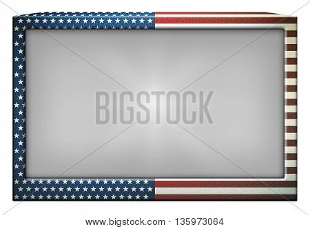 Television or Tablet with using the stars and stripes of the flag of the United States. Includes a clipping path so it can be placed over another image or photo.