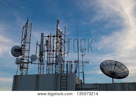 many type of satellite communication on building