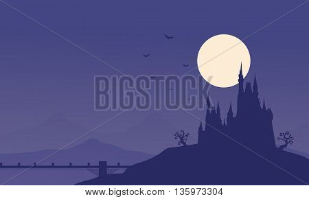 Silhouette of Halloween castle and bridge illustration