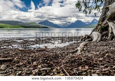This is a HDR photo of lake McDonald taken in Glacier National Park in Montana. This was taken on the ground with the camera timer.