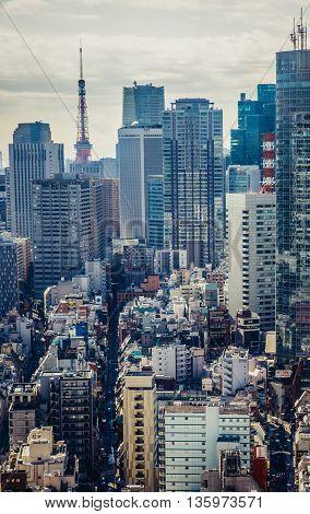 Tokyo Japan - February 27 2015: Aerial view on modern buildings of Akasaka district