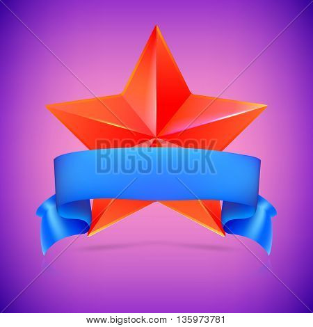 Red star with blue ribbon on colored background. Symbol of victory in competitions or contests, template for your design