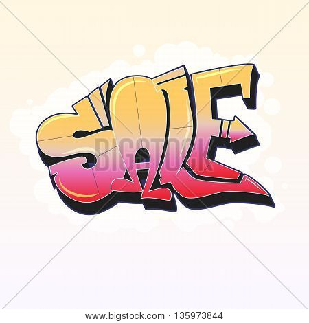Sale, lettering in graffiti style banner with white background. Vector editable flyer, easy to change size