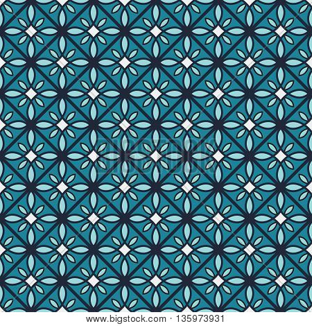Blue color geometric vector seamless pattern tile.