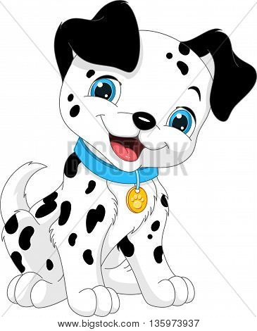 Сute puppy Dalmatian on a white background